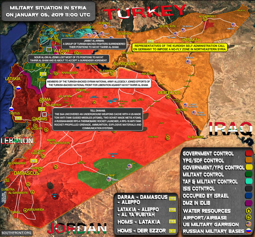 Military Situation In Syria On January 5, 2019 (Map Update)
