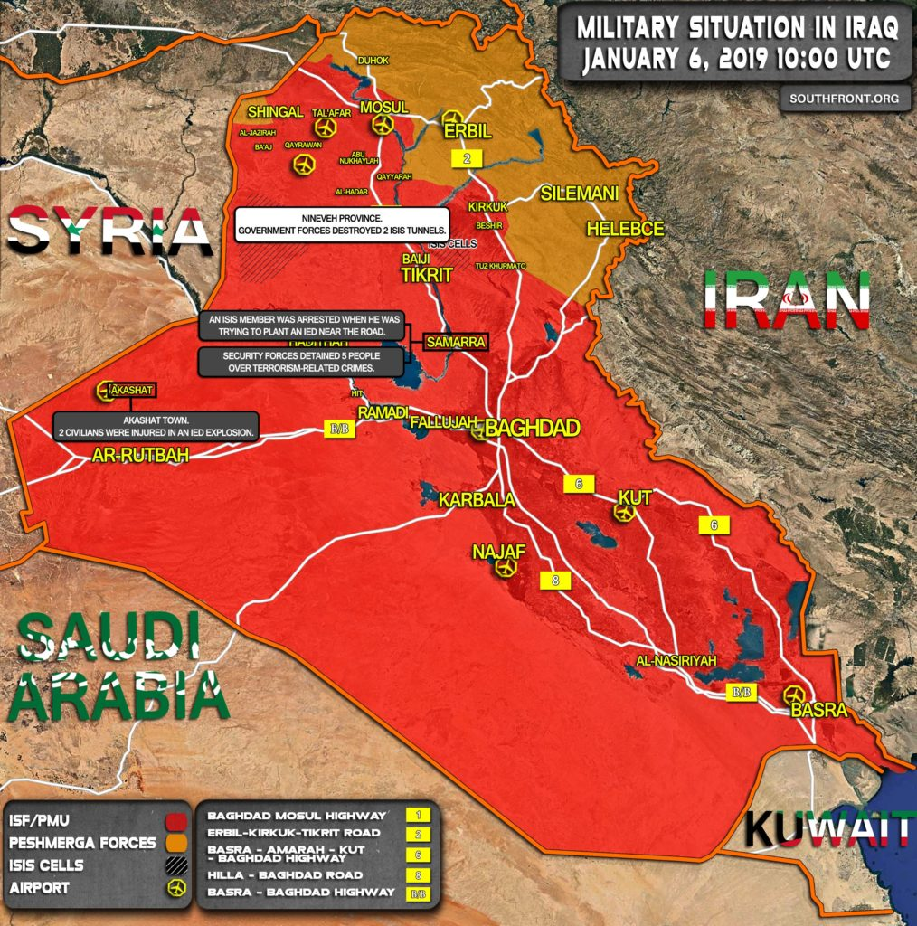 Iraqi Security Forces Continue Crackdown On ISIS Cells & Infrastructure Across County (Map)