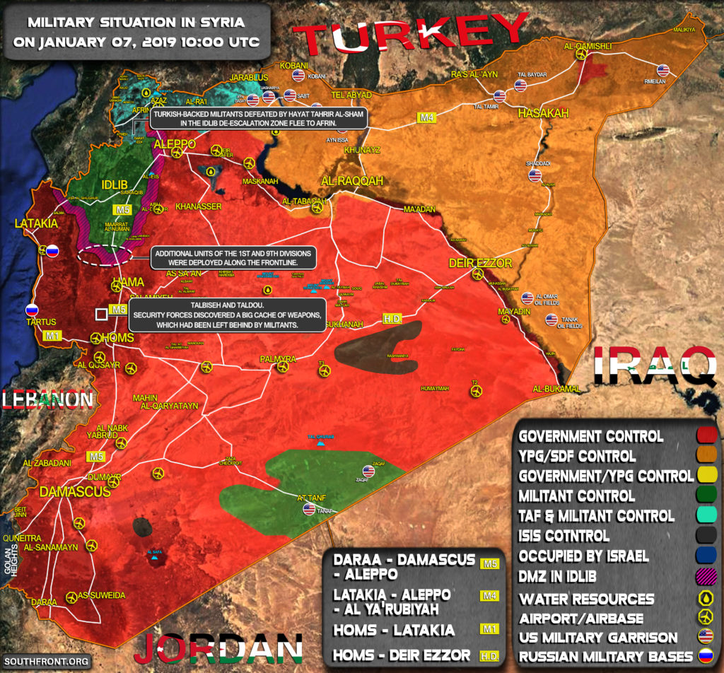 Military Situation In Syria On January 7, 2019 (Map Update)