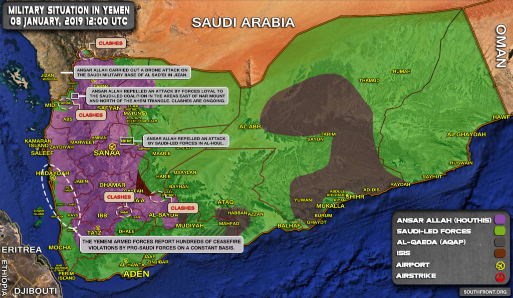 Military Situation In Yemen On January 8, 2019 (Map Update)