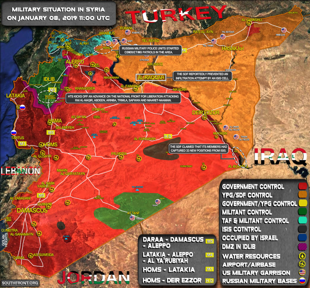 Military Situation In Syria On January 8, 2019 (Map Update)