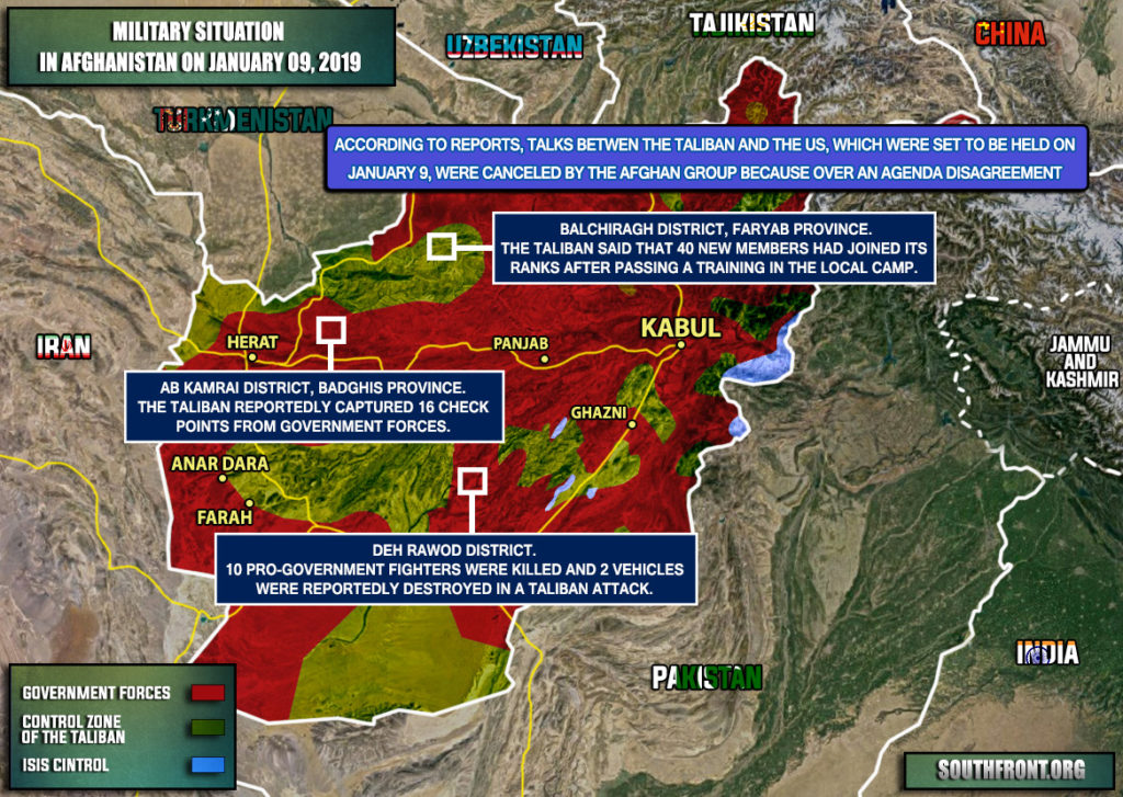Military Situation In Afghanistan On January 9, 2019 (Map Update)