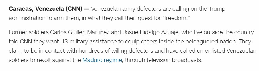 CNN Releases Interview With 'Venezuelan Army Defectors' Appealing To US For Weapons. There Is Problem With Their Uniform