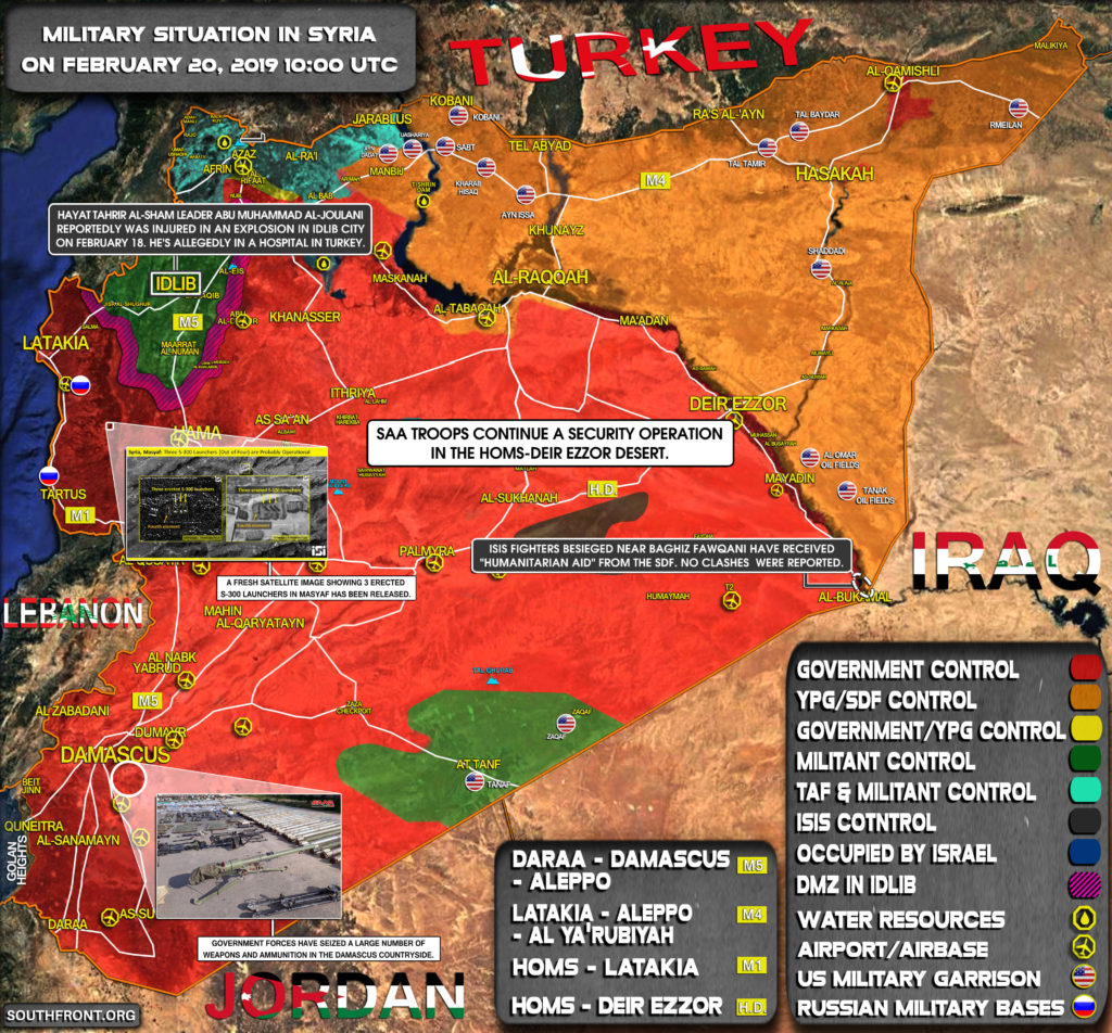 Military Situation In Syria On February 20, 2019 (Map Update)
