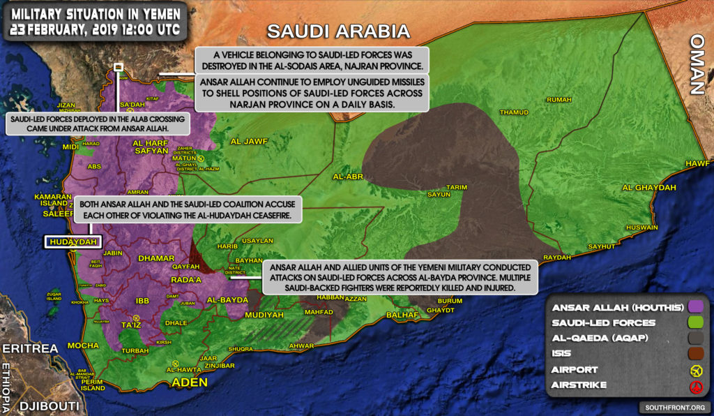 Military Situation In Yemen On February 23, 2019 (Map Update)