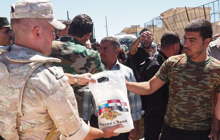 Russian Military Delivers Humanitarian Aid To Syria