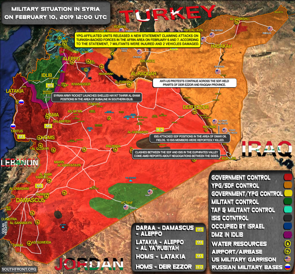 Military Situation In Syria On February 10, 2019 (Map Update)
