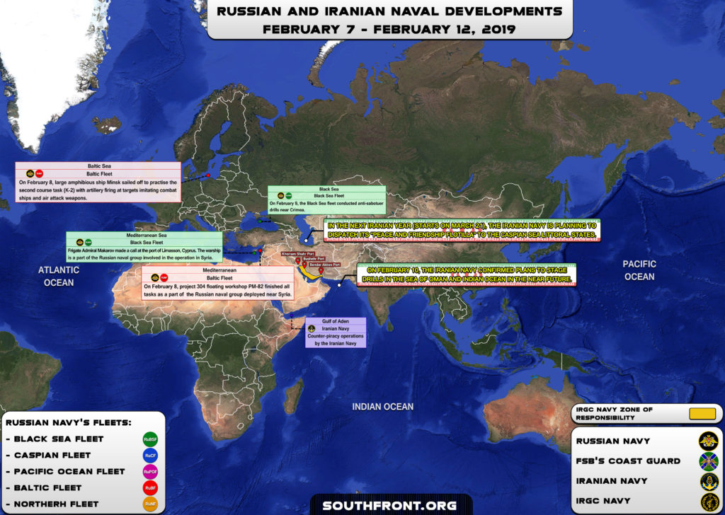 Iranian, Russian Naval Developments February 7-12, 2019 (Map Update)