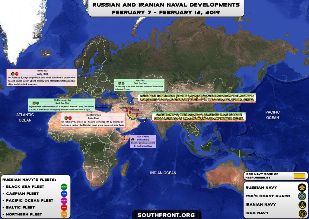Iranian, Russian Naval Developments February 7-12, 2019 (Map Update)