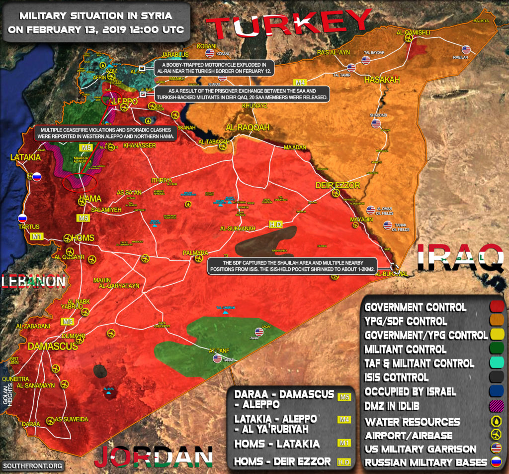 Military Situation In Syria On February 13, 2019 (Map Update)