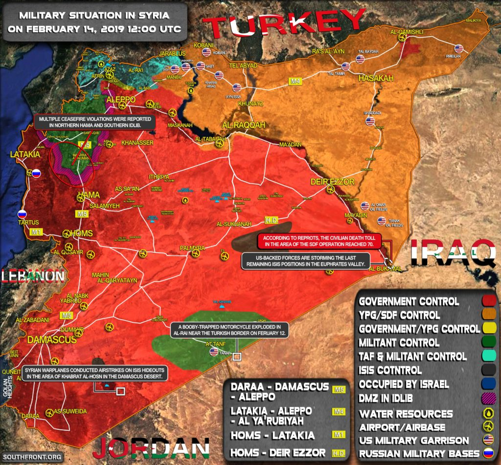 Military Situation In Syria On February 14, 2019 (Map Update)