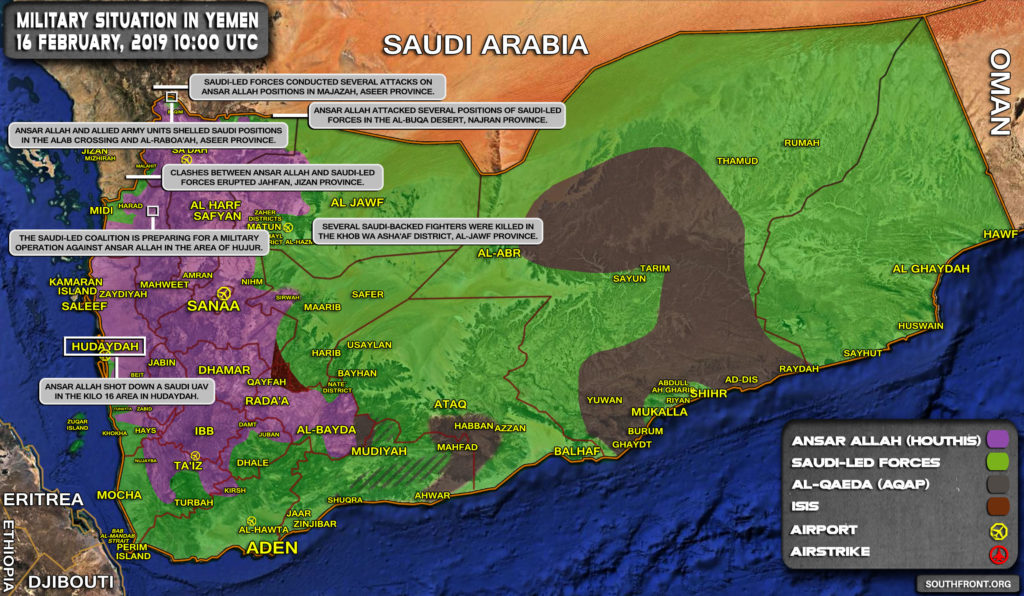 Military Situation In Yemen On February 16, 2019 (Map Update)