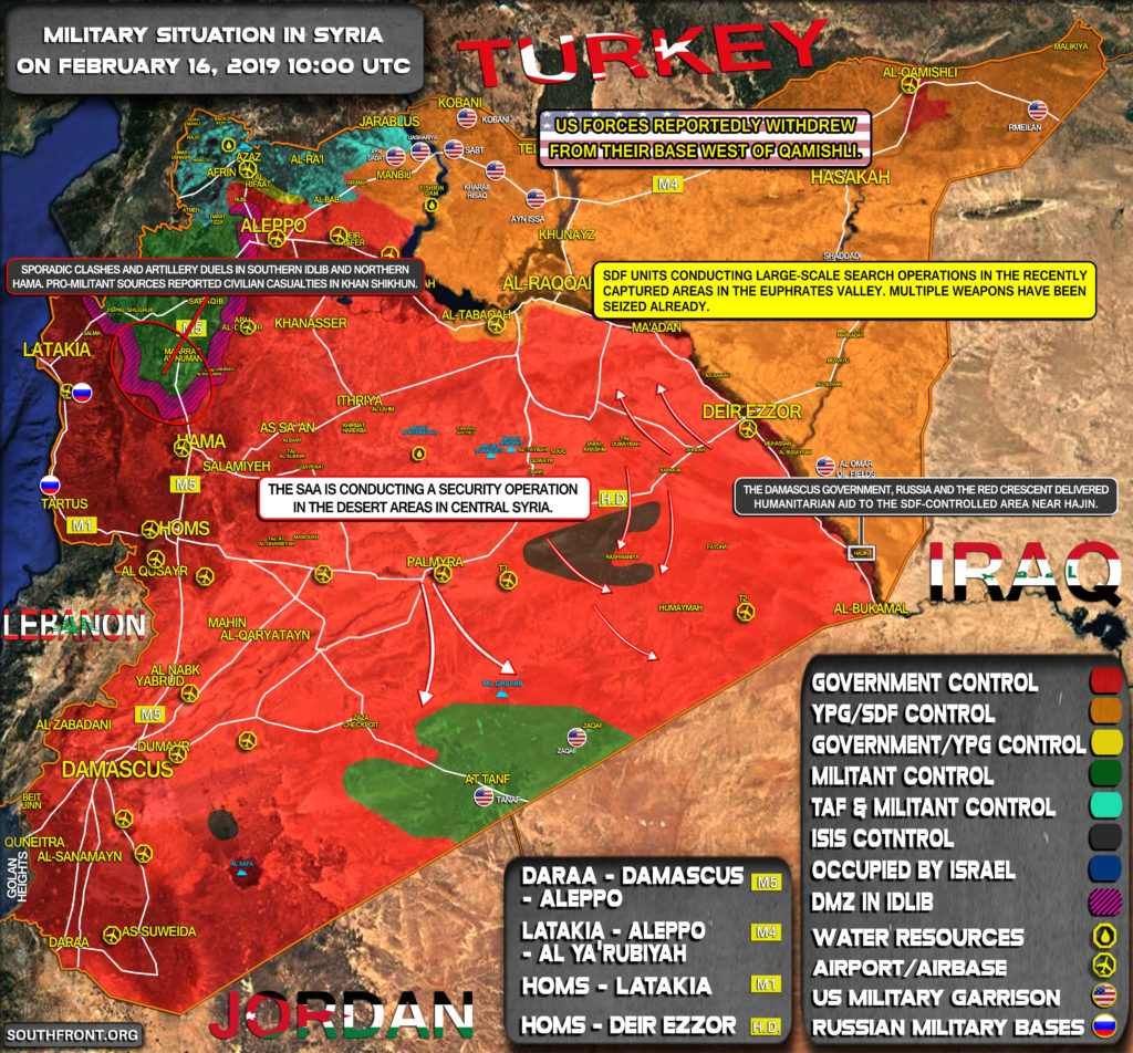 Military Situation In Syria On February 16, 2019 (Map Update)