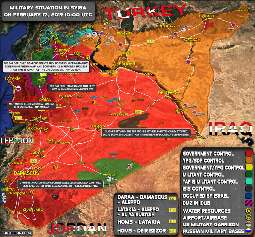 Military Situation In Syria On February 17, 2019 (Map Update)