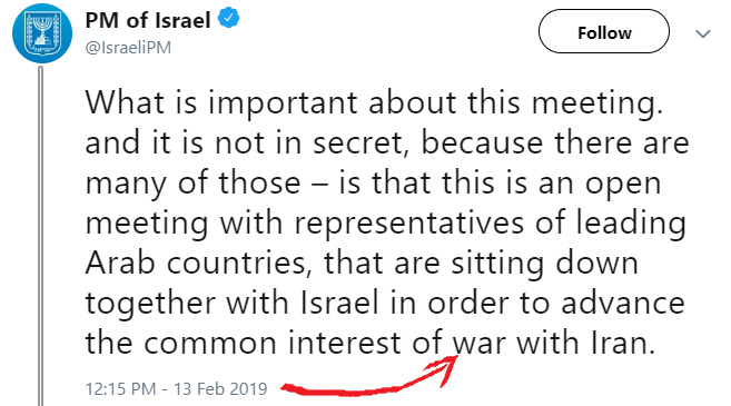 "Netanyanu Tweets Then Quickly Deletes He Is Seeking ""War With Iran"""