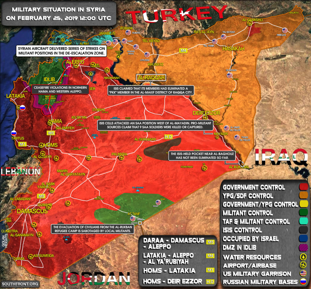 Military Situation In Syria On February 25, 2019 (Map Update)