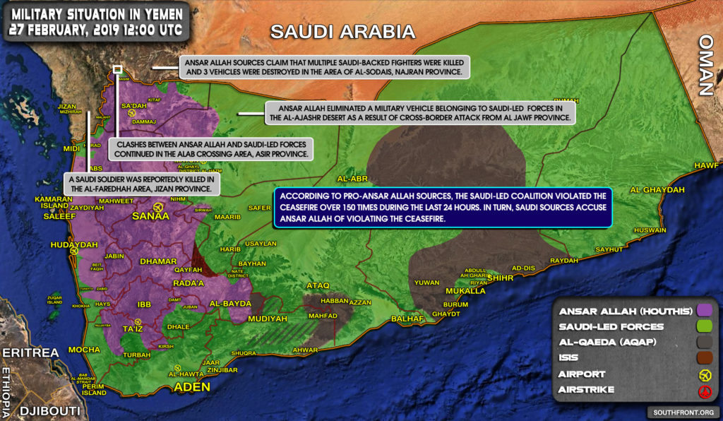 Military Situation In Yemen On February 27, 2019 (Map Update)