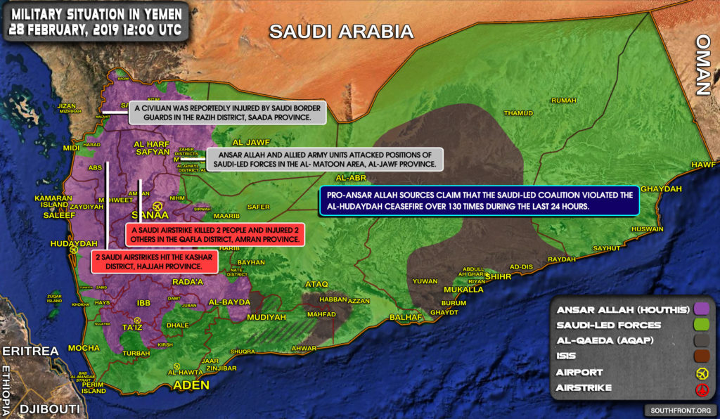 Military Situation In Yemen On February 28, 2019 (Map Update)