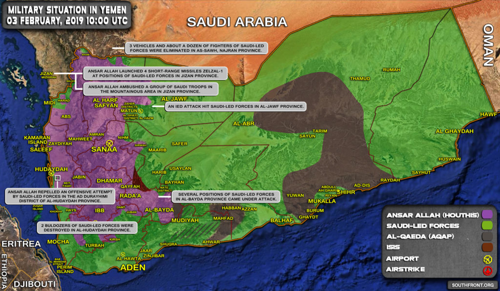 Military Situation In Yemen On February 3, 2019 (Map Update)