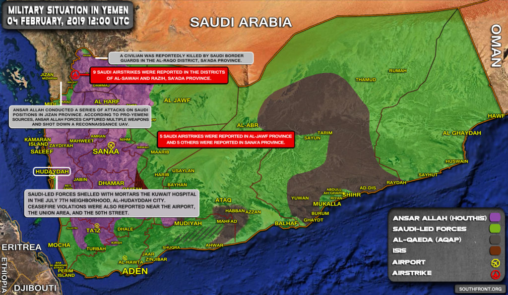 Military Situation In Yemen On February 4, 2019 (Map Update)