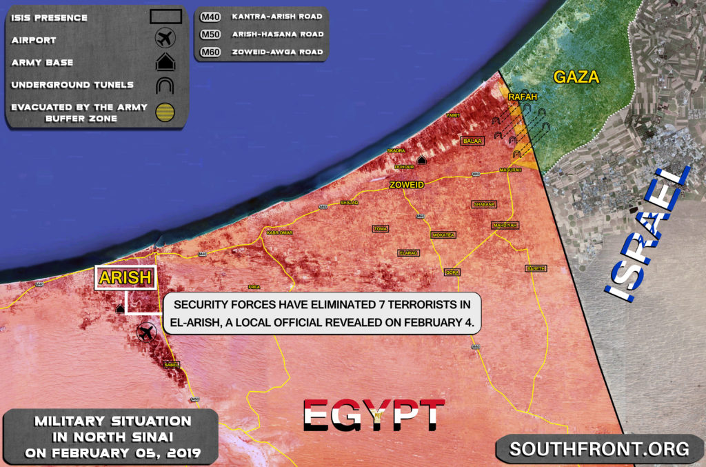 Security Forces Eliminated 7 Terrorists In Egypt's North Sinai (Map)