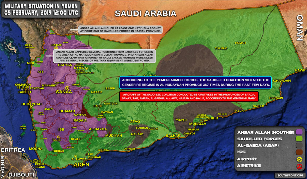Military Situation In Yemen On February 5, 2019 (Map Update)