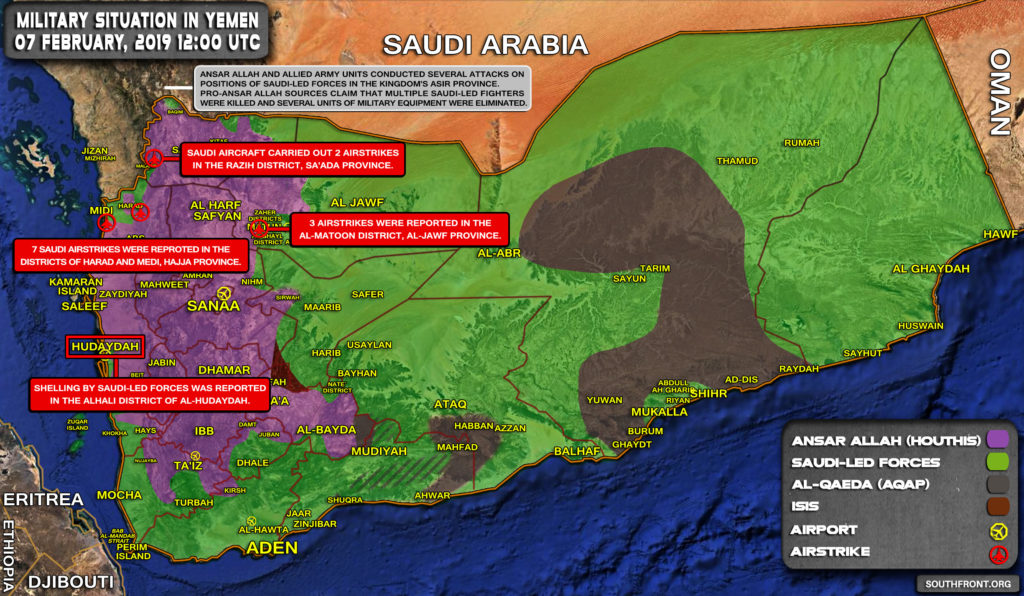 Military Situation In Yemen On February 7, 2019 (Map Update)