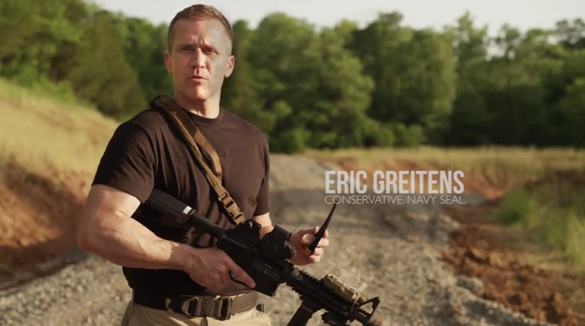 A still shot from a gubernatorial commercial promoting Eric Greitens in 2016. He ran on the collective reputation of the SEAL teams, much to the chagrin of many rank and file members.