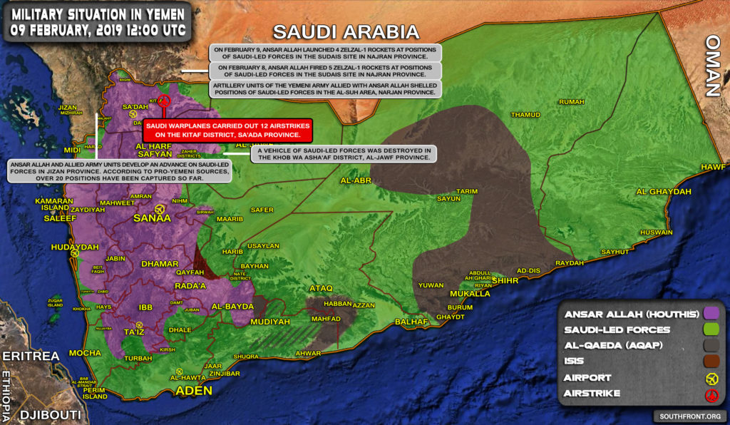 Military Situation In Yemen On February 9, 2019 (Map Update)