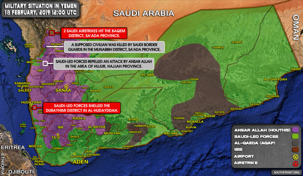Military Situation In Yemen On February 18, 2019 (Map Update)