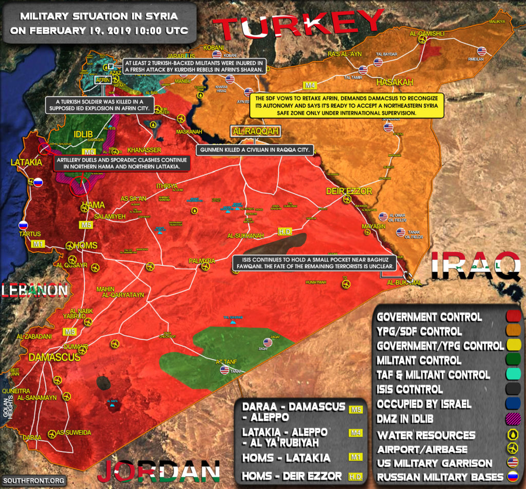 Military Situation In Syria On February 19, 2019 (Map Update)