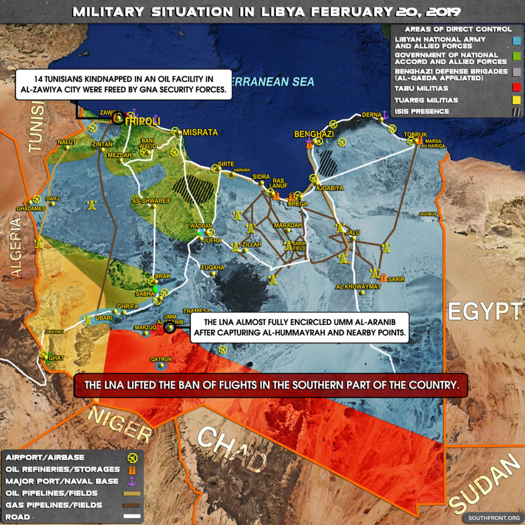 Military Situation In Libya On February 20, 2019 (Map Update)