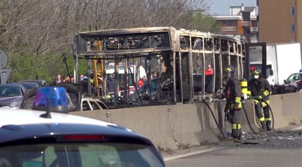 """I'll carry out a massacre"": Driver Hijacks, Sets Ablaze School Bus In Italy"