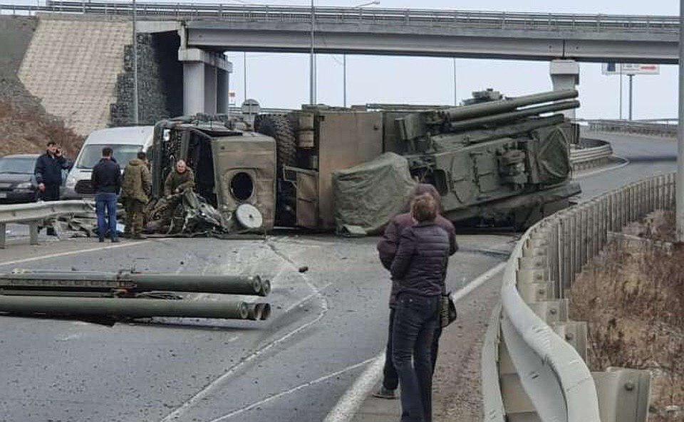 Pantsir-S1 Air Defense System Flipped On Highway In Russia's Vladivostok (Photo, Videos)