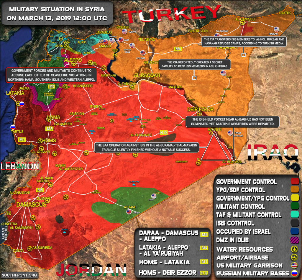 Military Situation In Syria On March 13, 2019 (Map Update)