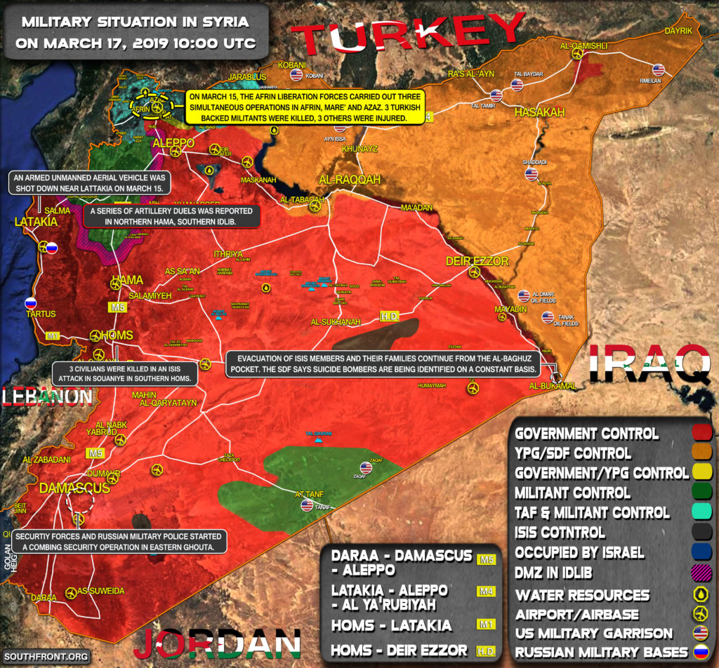 Military Situation In Syria On March 17, 2019 (Map Update)