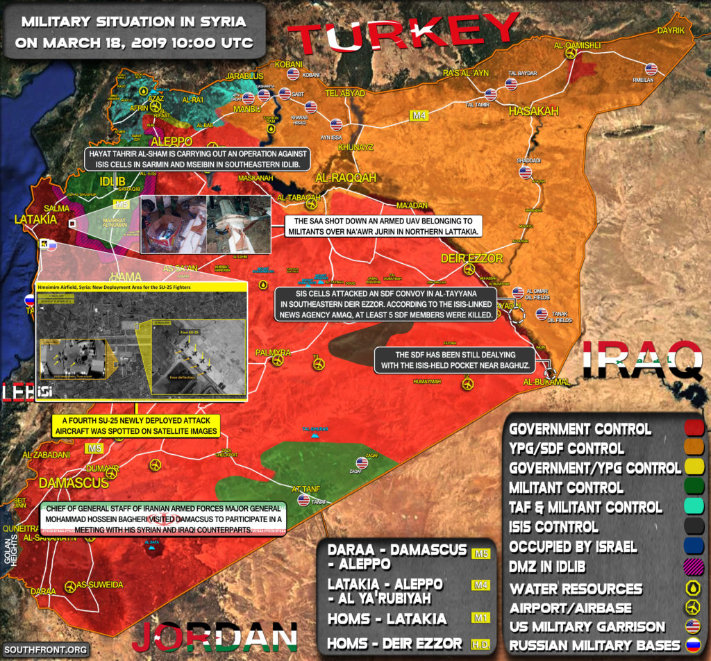 Military Situation In Syria On March 18, 2019 (Map Update)