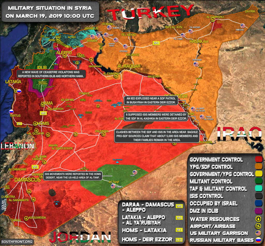 Military Situation In Syria On March 19, 2019 (Map Update)