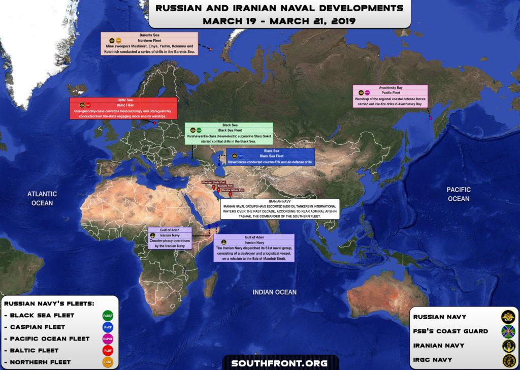 Iranian, Russian Naval Developments March 19-21, 2019 (Map Update)