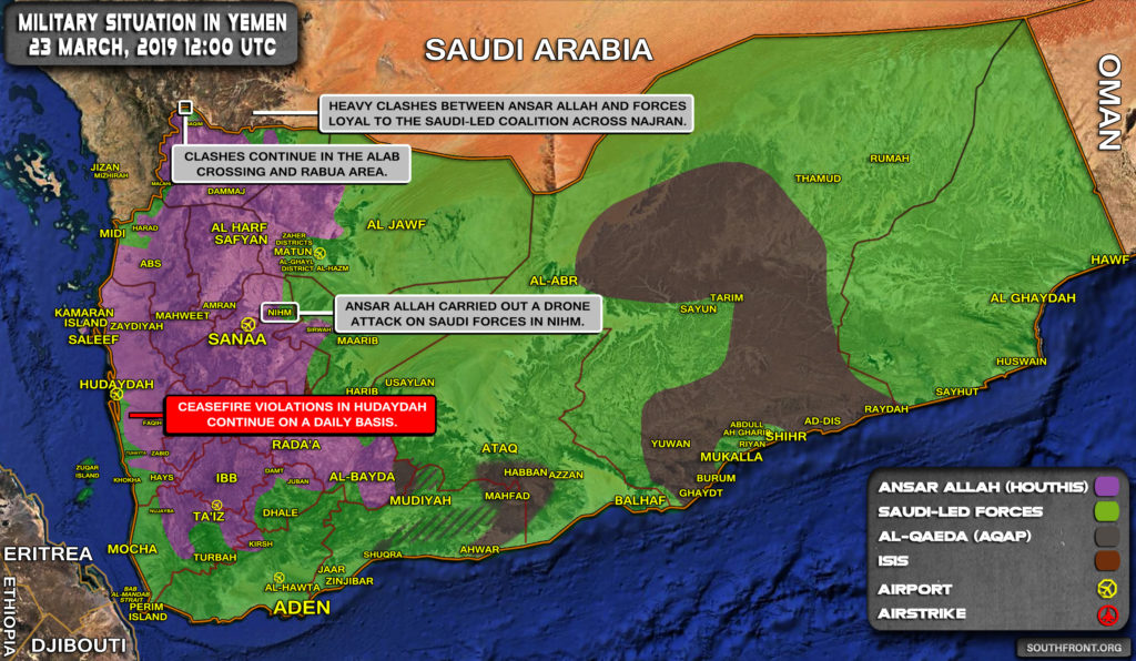Military Situation In Yemen On March 22, 2019 (Map Update)