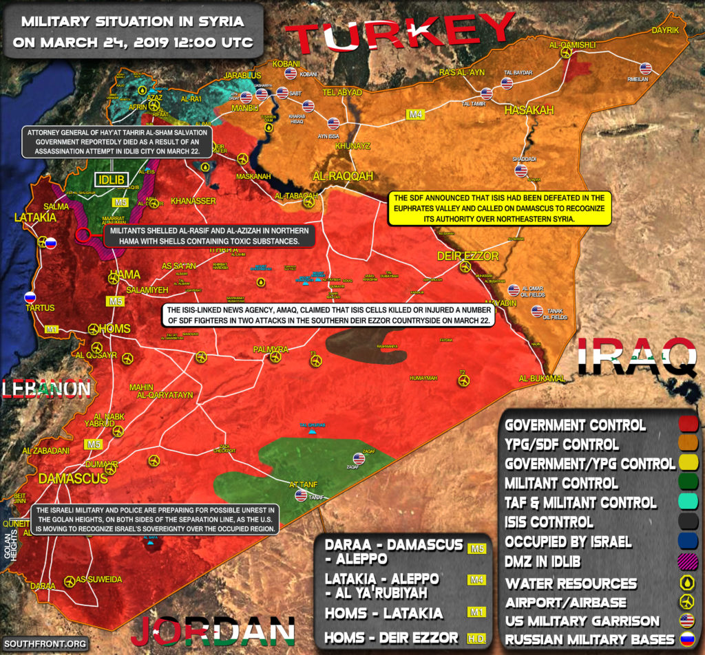Military Situation In Syria On March 23 2019 Map Update
