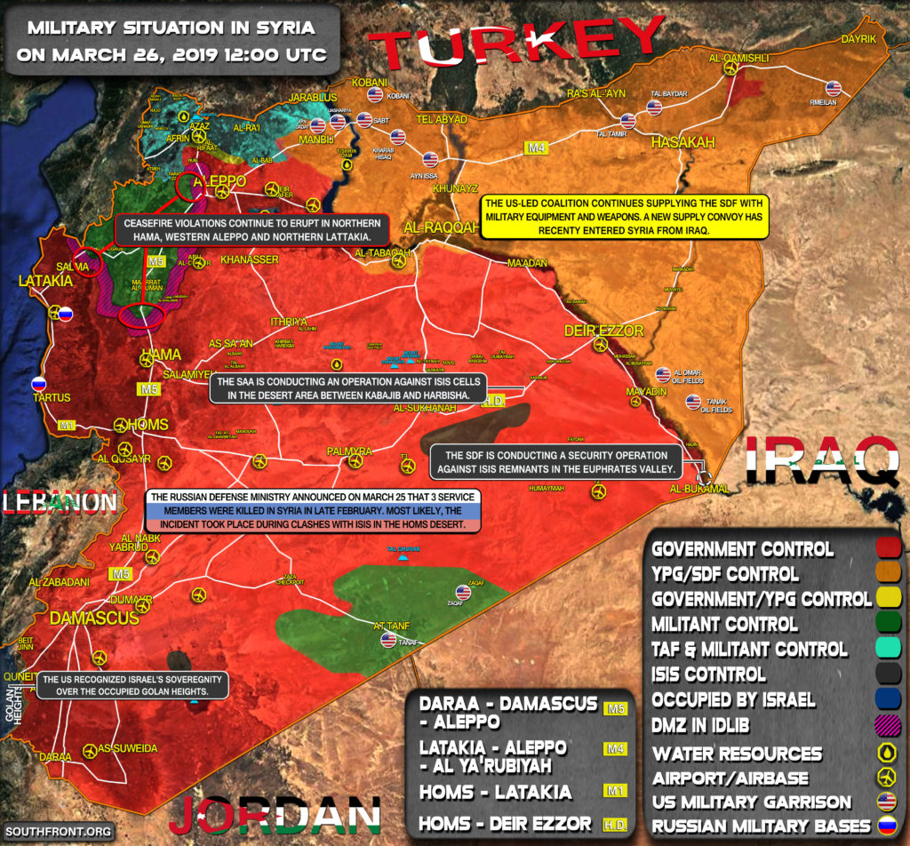 Military Situation In Syria On March 26, 2019 (Map Update)