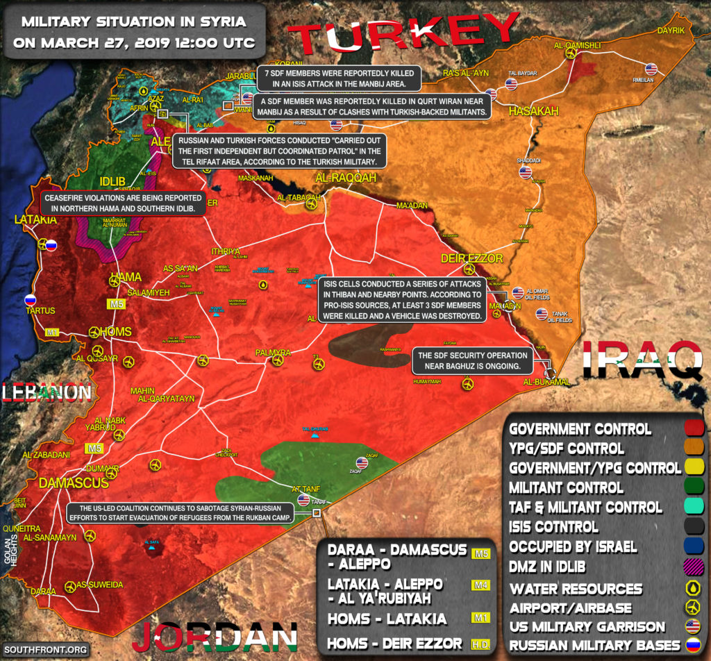 Military Situation In Syria On March 27, 2019 (Map Update)