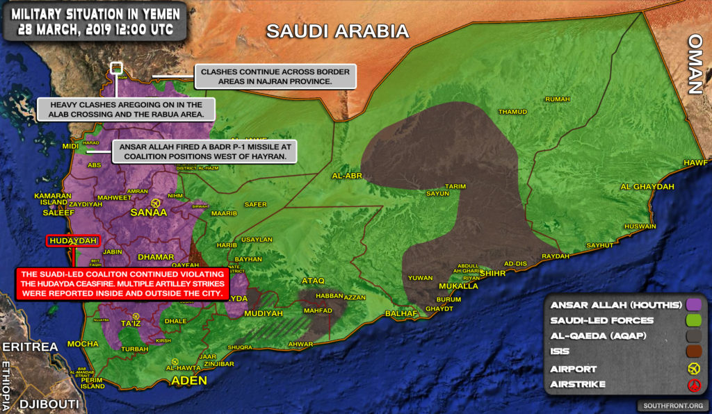 Military Situation In Yemen On March 28, 2019 (Map Update)