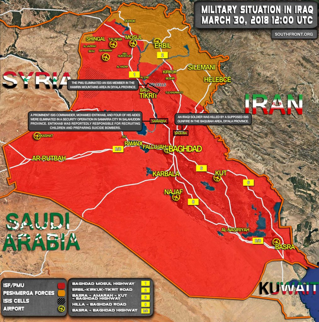 Map Update: Iraqi Forces Crack Down On ISIS Cells In Diyala And Salahuddin Provinces