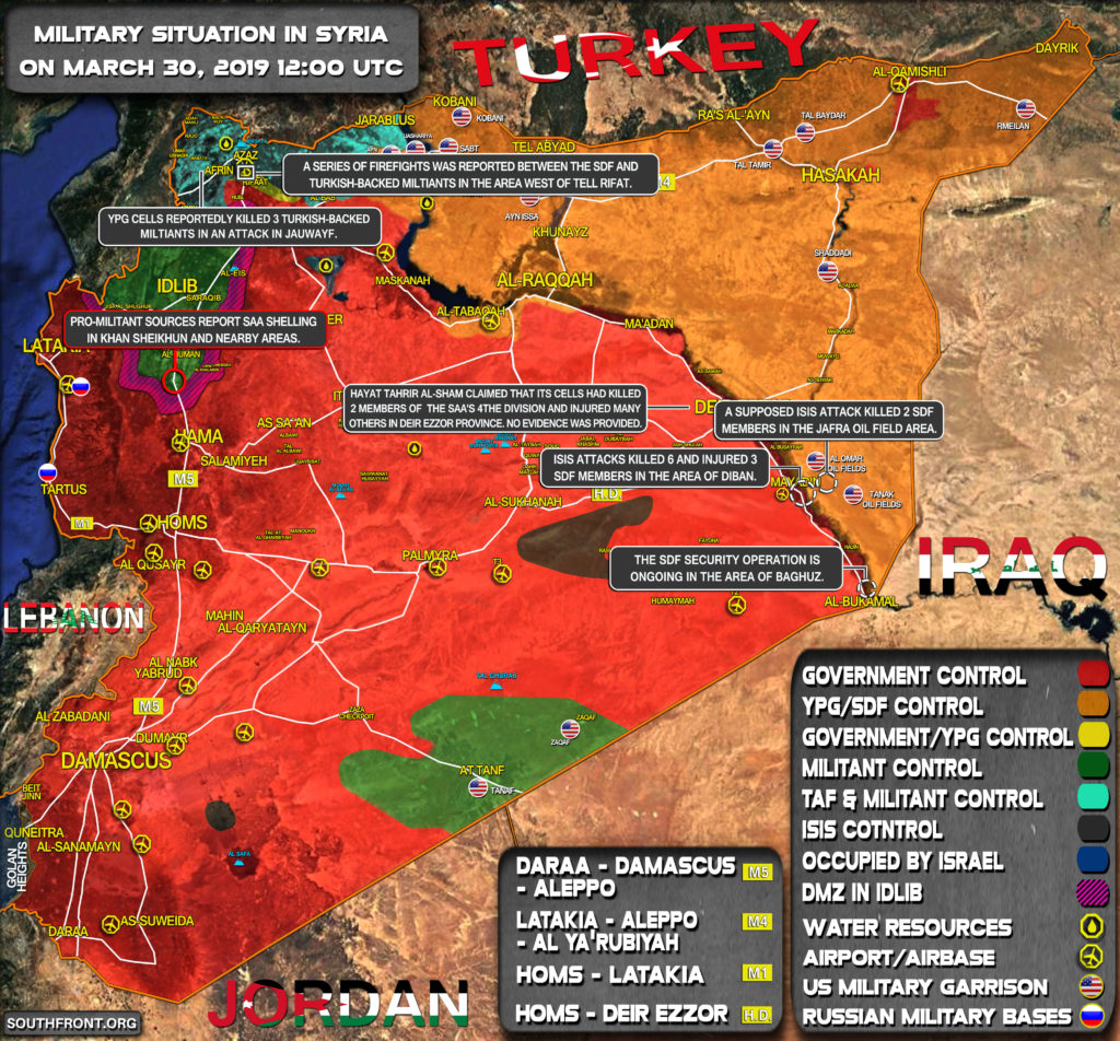 Military Situation In Syria On March 30, 2019 (Map Update)