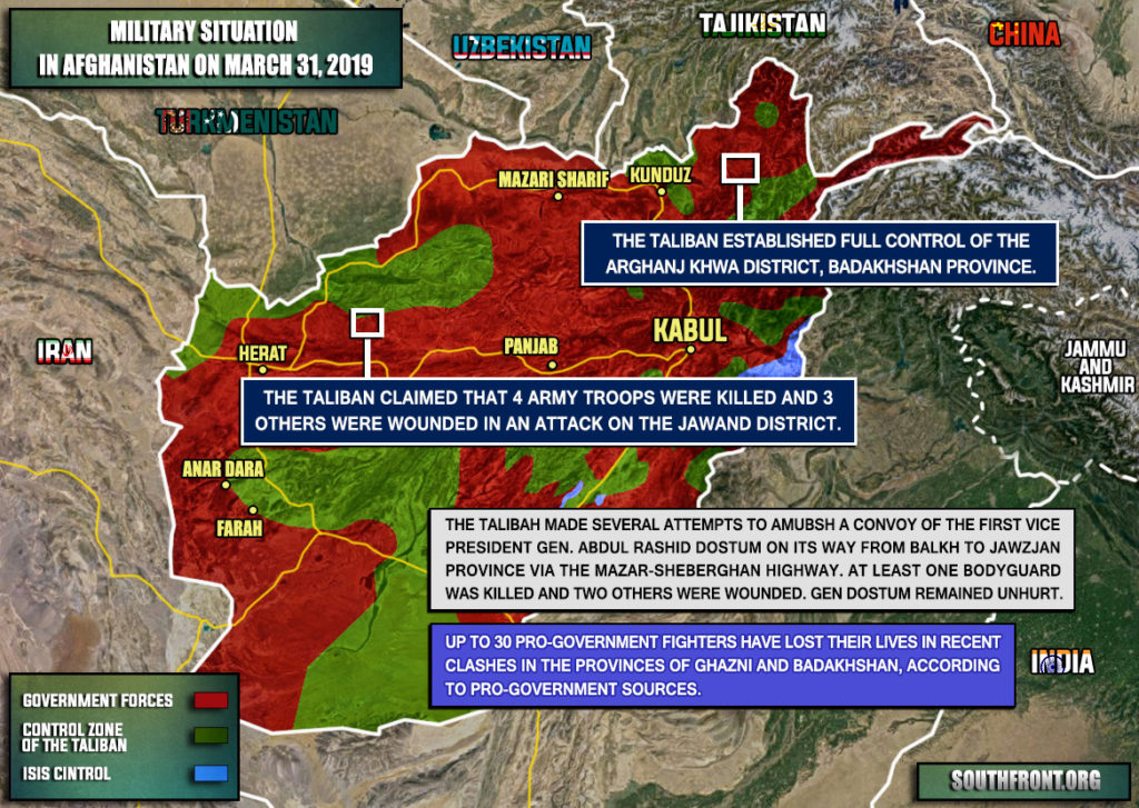 Military Situation In Afghanistan On March 31, 2019 (Map Update)