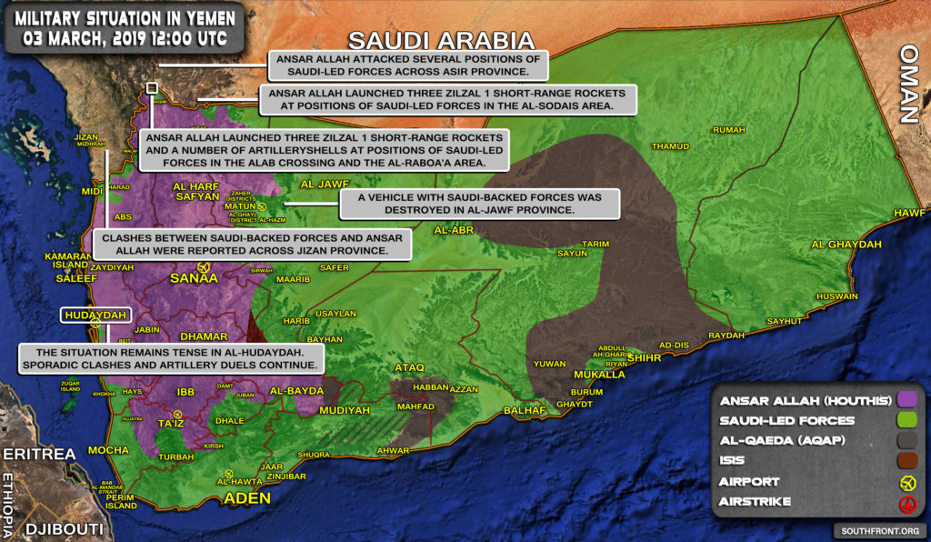 Military Situation In Yemen On March 3, 2019 (Map Update)