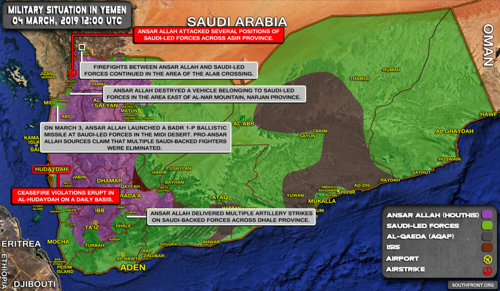 Military Situation In Yemen On March 4, 2019 (Map Update)