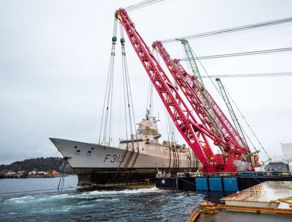 Photos, Videos: Norwegian Navy Recovered Sunken Frigate Helge Ingstad
